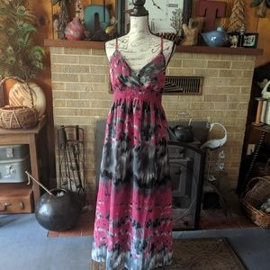 She's Cool maxi dress pinks and grays and blacks